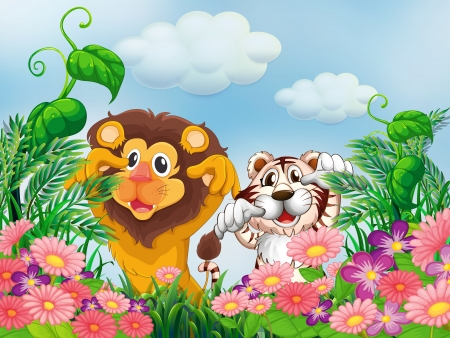 Illustration of a garden with a lion and a tiger Vector