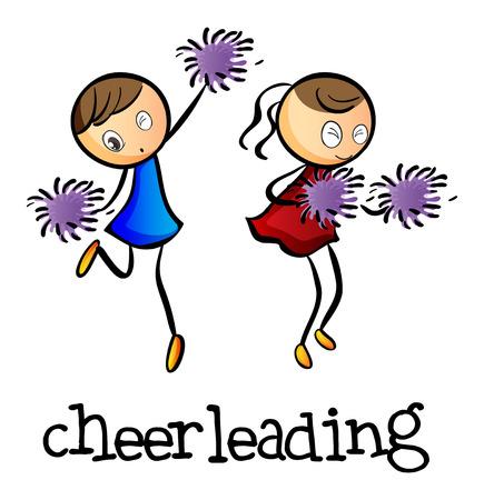 Illustratie van de cheerleaders dansen op een witte achtergrond