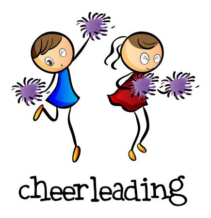 cheerleading: Illustration of the cheerleaders dancing on a white background