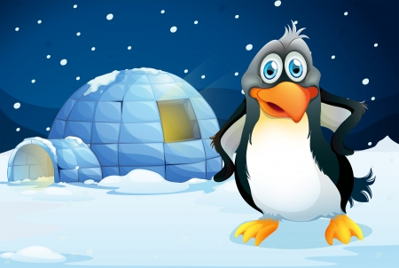 Illustration of a penguin standing near the igloo Vector