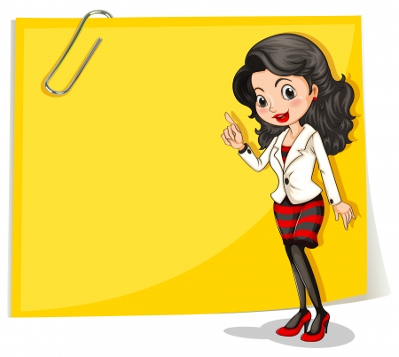 sides: Illustration of a yellow empty signage with a businesswoman in front on a white background Illustration