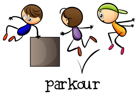 Illustration of the stickmen playing parkour on a white background Иллюстрация