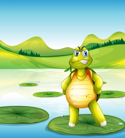 Illustration of a turtle at the pond standing above a waterlily