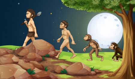 Illustration of the evolution of man in the hilltop Stock Vector - 25026356