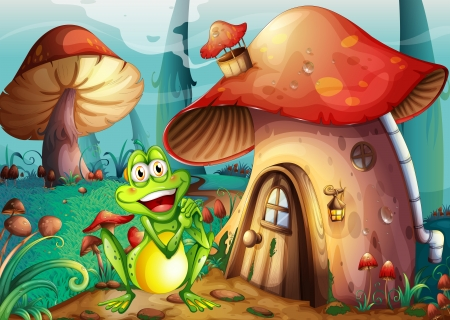 Illustration of a frog near the mushroom house Illustration