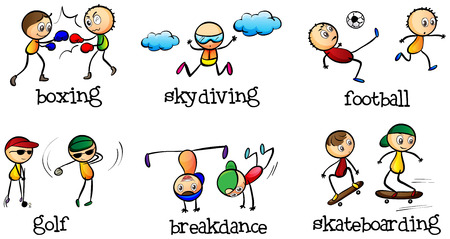 rehearsal: Illustration of the activities that can be done indoor and outdoor on a white background   Illustration