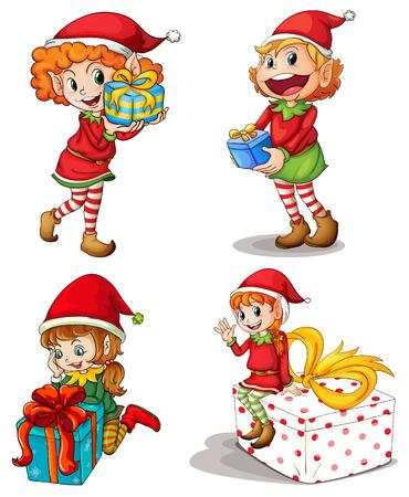 enano: Ilustración de los elfos de Santa con los regalos en un fondo blanco Vectores