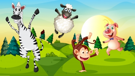 scorching: Illustration of a hilltop with playful animals Illustration