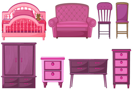 Illustration of the furnitures in pink color on a white background Vector
