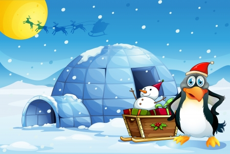 Illustration of a penguin and the sleigh with a snowman near the igloo Vector