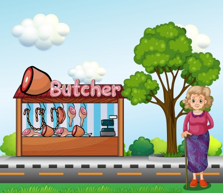 Illustration of an old woman near the butcher house Vector