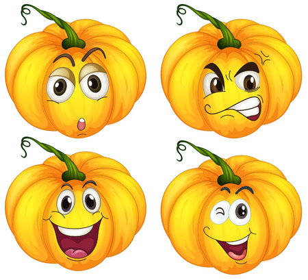 Illustration of the four pumpkins on a white  Vector