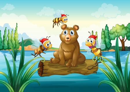 Illustration of a bear riding on a trunk floating in the river Vector