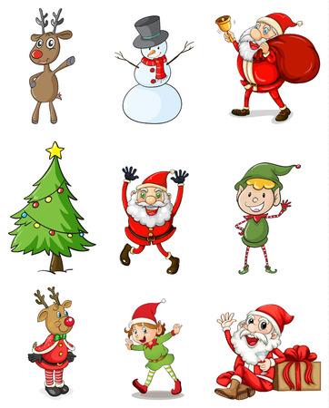 enano: Ilustraci�n de los nueve dise�os de la navidad en un blanco Vectores