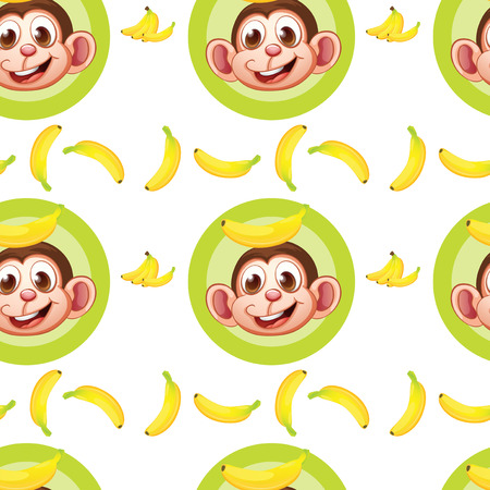 brown banana: Illustration of a seamless design with monkeys and bananas on a white background