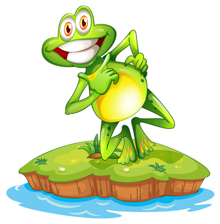 play poison: Illustration of an island with a smiling frog on a white