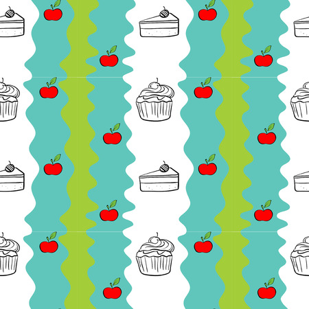 Illustration of a seamless design with cakes and apples on a white  Vector