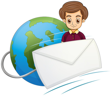 Illustration of a serious gentleman in the middle of the globe and the envelope on a white  Vector