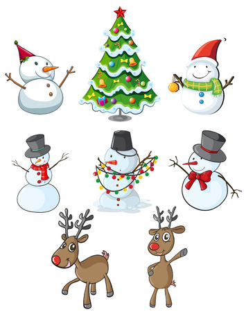 rudolph: Illustration of the snowmen, reindeers and a christmas tree on a white  Illustration