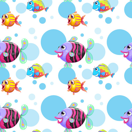 Illustration of a seamless design with a school of colorful fishes on a white background Illustration