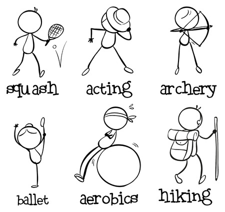 Illustration of the different activities on a white  Vector