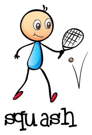 squash: Illustration of a stickman playing tennis on a white  Illustration