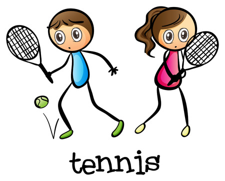 male tennis players: Illustration of a girl and a boy playing tennis on a white background