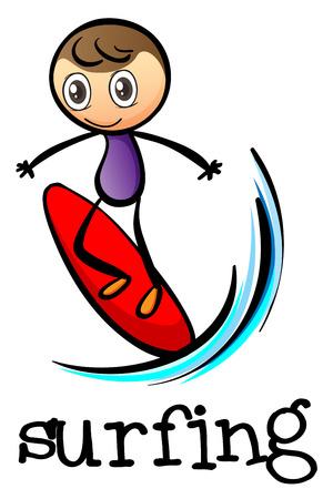 stickman: Illustration of a stickman surfing on a white  Illustration