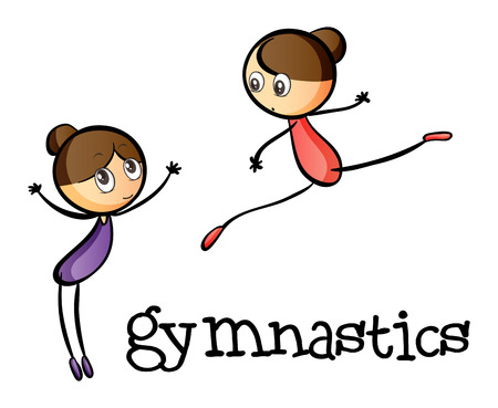 Illustration of the two gymnasts on a white