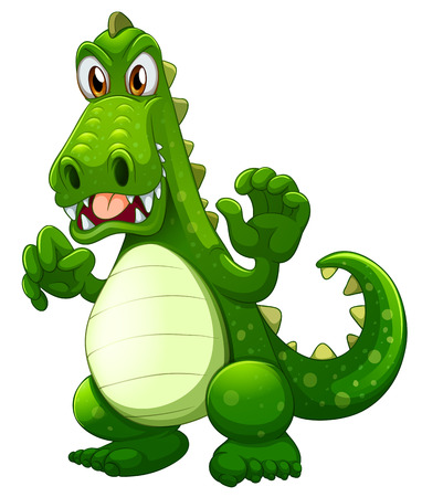 Illustration of an angry crocodile on a white  Vector