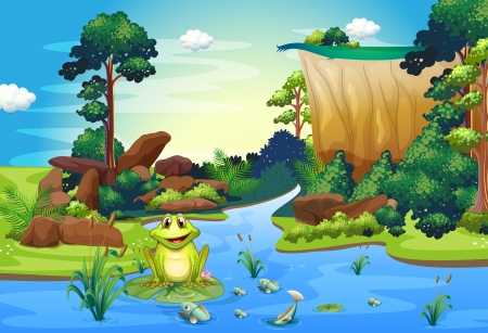 endpoint: Illustration of a frog playing at the river near the cliff Illustration