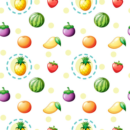 crop margin: Illustration of a seamless design with fruits on a white background