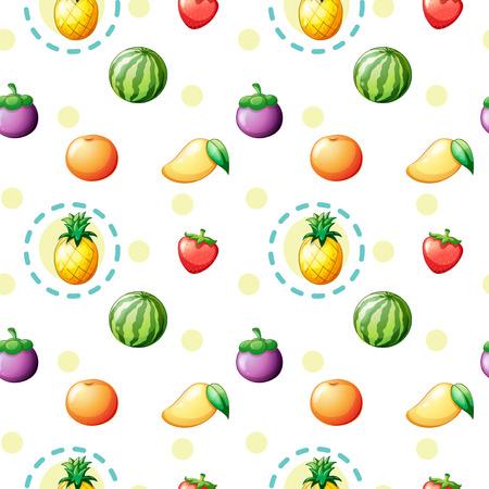 crop margin: Ilustraci�n de un dise�o sin costuras con frutas sobre un fondo blanco