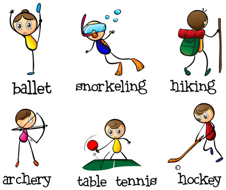 Illustration of the different sports activity on a white  Vector