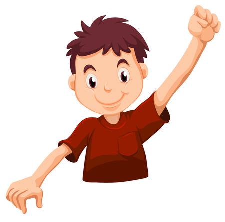 Illustration of a kid wearing a red shirt on a white background Illustration