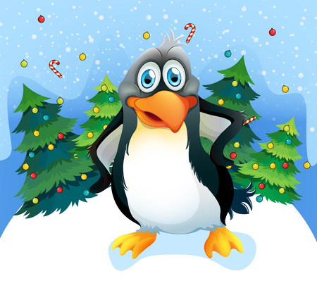 Illustration of a penguin near the christmas trees Vector
