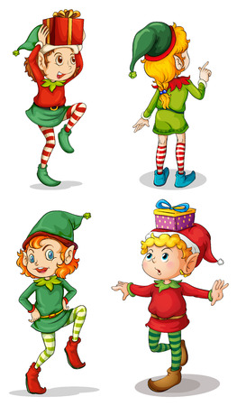 Illustration of the four playful Santa elves on a white background Illustration