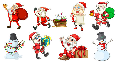 Illustration of Santa Claus and the snowmen on a white background Vector