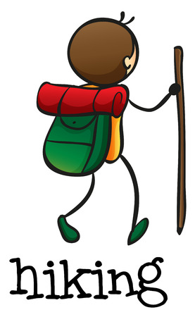 walking trail: Illustration of a stickman hiking on a white background Illustration