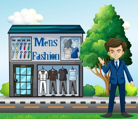 plant stand: Illustration of a business owner outside the mens fashion shop Illustration