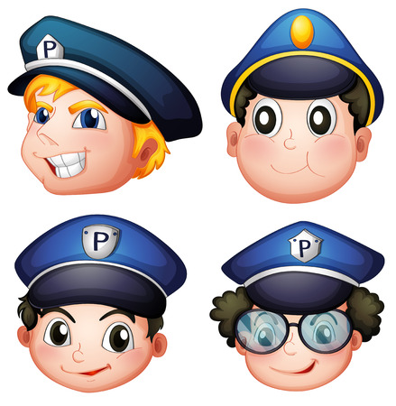 detain: Illustration of the head of four cops on a white background
