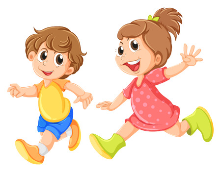 Illustration of a small girl and a small boy playing on a white background