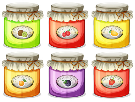 jams: Illustration of the six different jams on a white background