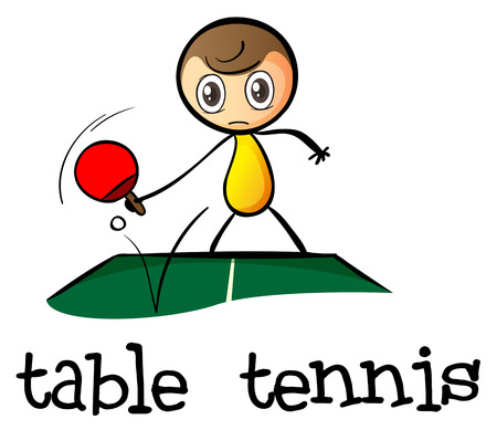 Illustration of a stickman playing table tennis on a white background