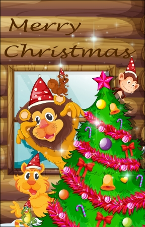 christmas frog: Illustration of a decorated christmas tree surrounded with animals