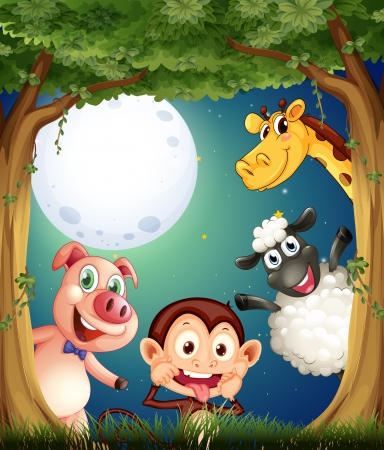 Illustration of the four animals playing at the forest under the bright fullmoon Vector