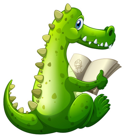 Illustration of a crocodile reading on a white background Vector