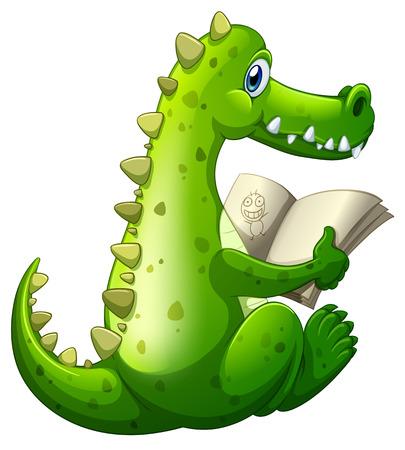 Ilustración de una lectura de cocodrilo sobre un fondo blanco