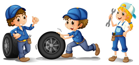 Illustration of the two male mechanics and a female mechanic on a white background Çizim