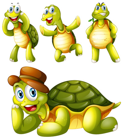 Illustration of the four playful turtles on a white background